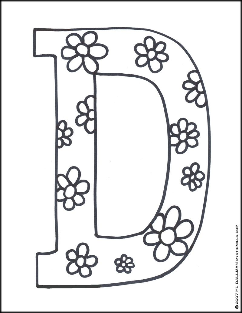 Letter D Coloring Page  Coloring Pages  Mommy Scene  Pinterest