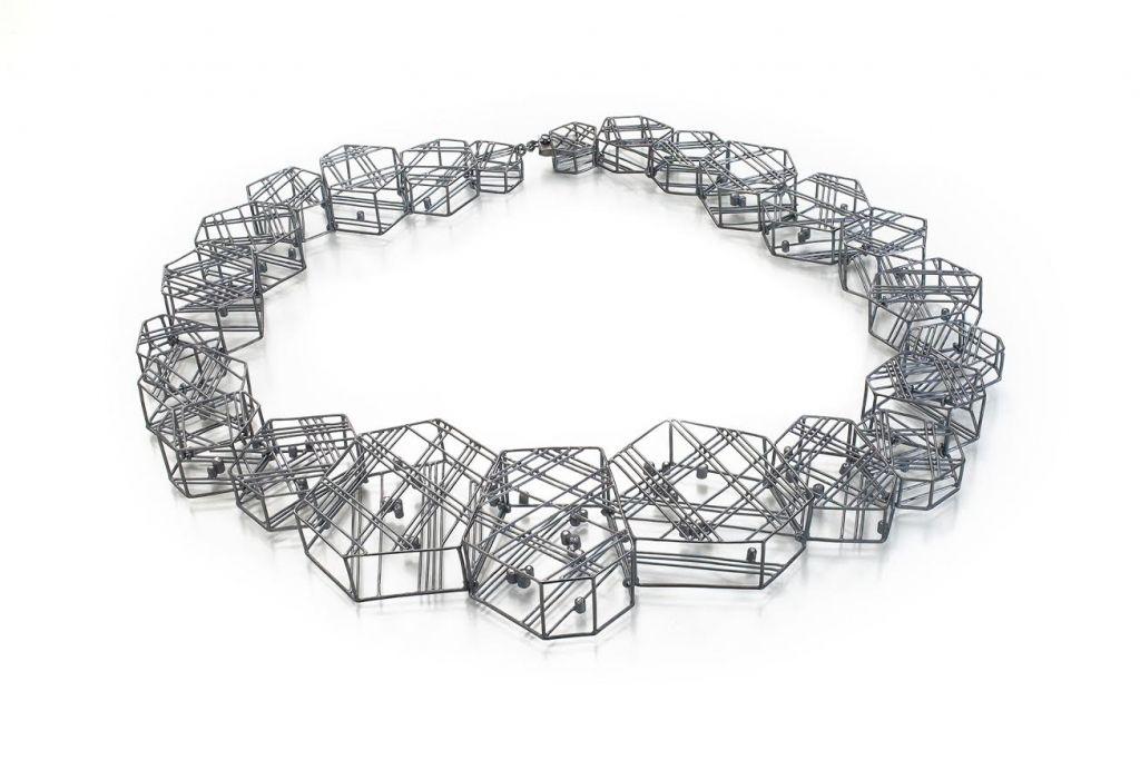 Jee Hye Kwon. Necklace. Oxidized sterling silver, diamonds.