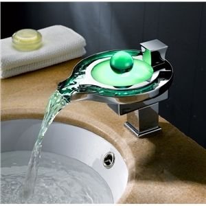 3 Color Glass Led Faucet Lighting Water Basin Tap Bathroom Sink Taps Led Faucet Modern Bathroom Faucets