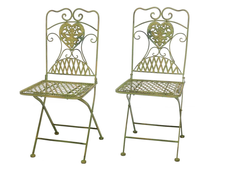 Wunderschönes Paar Gartenstühle in Creme Grün aus Eisen im Antik ...