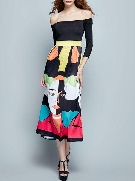One Shoulder Dacron Printed Maxi Dress