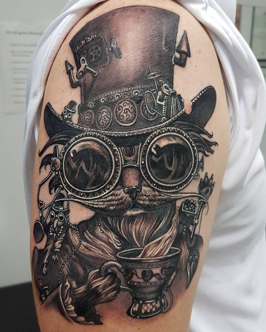 28 Steampunk Tattoo Designs Ideas: Steampunk Kitty #inkpiration #tattoo #tattooed #tattoos