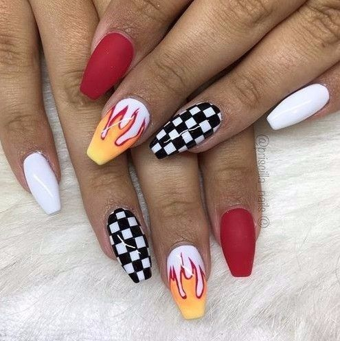 N I C O L E Gxlden22 Fire Nails Checkered Nails Coffin Shape Nails