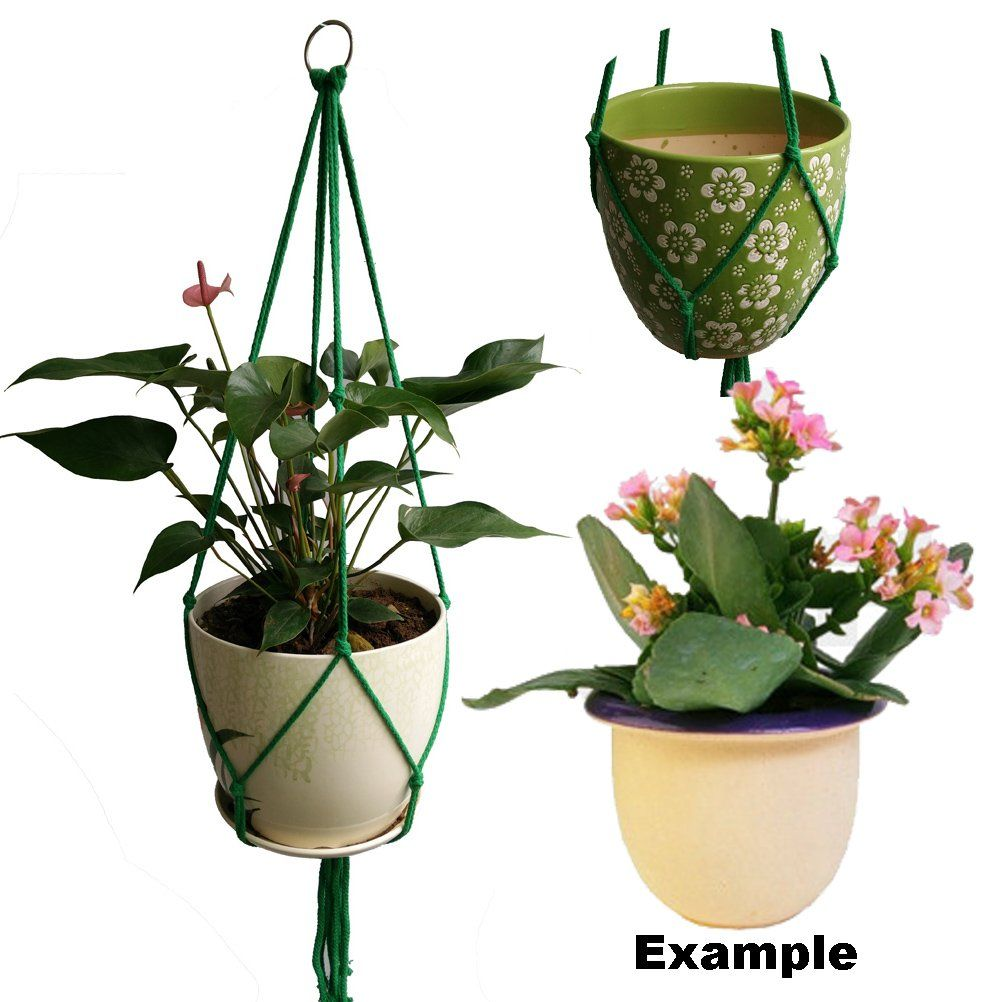 Handmade 4 Legs Green 4mm Cotton Rope 36 Inches Macrame Plant Holders Fits 8 Inch Pots Holder Without The Gl Pot And Flower