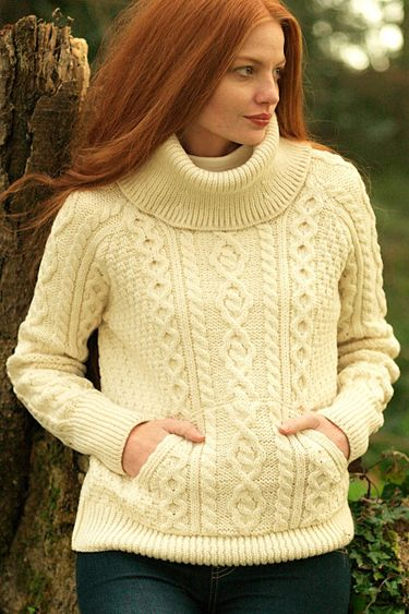 Carraig Donn Irish Aran Wool Sweater Womens Cable Knit Turtleneck ...