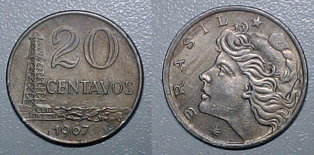 Moeda Brasileira De 20 Centavos De Cruzeiro De 1967 Moedas