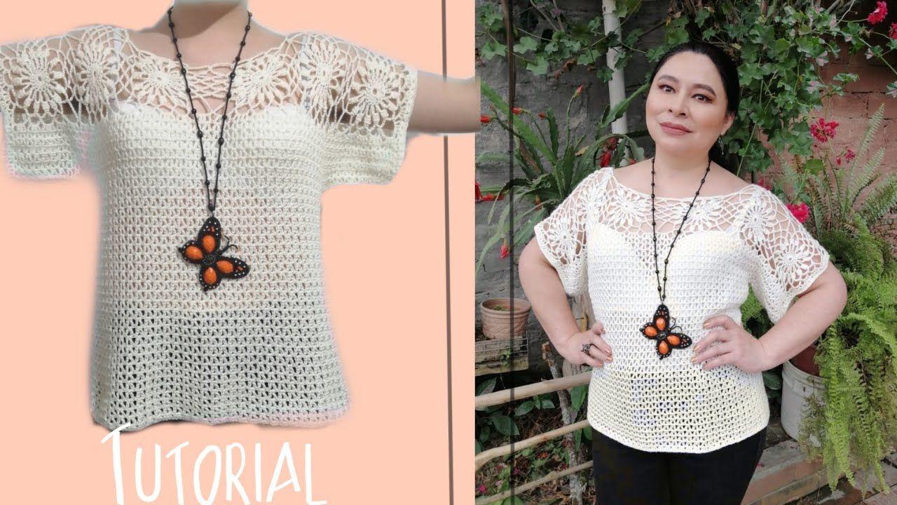 Como Hacer Una Blusa Blusa En Crochet Elegante Para Todas Las Tallas Crochet Blouse Crochet Women