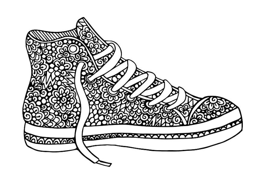 Hi Top Tennis Shoe Coloring Page 1 By Artist Jasmin Sims So Cute