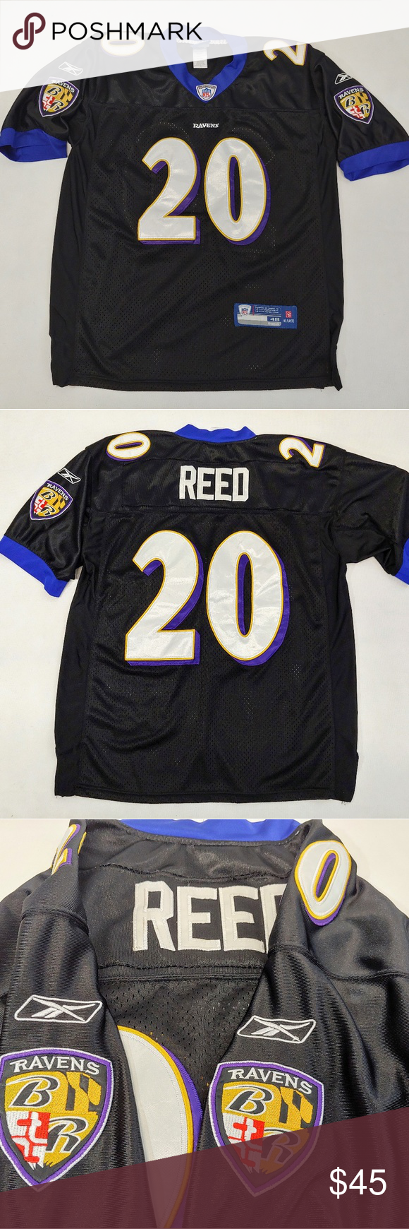 newest collection 23f1b 5254a Baltimore Ravens Reed Jersey Reebok #20 Size 48 Ed Reed #20 ...