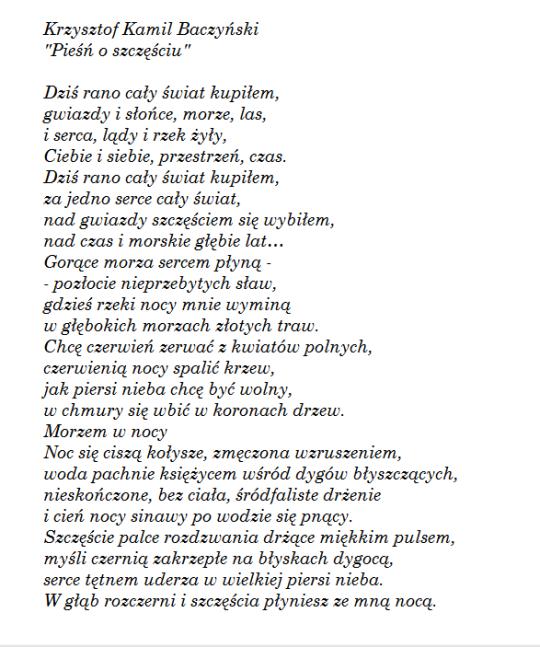 Pieśń O Szczęściu K K Baczyński Wiersze Poezja I Mądre