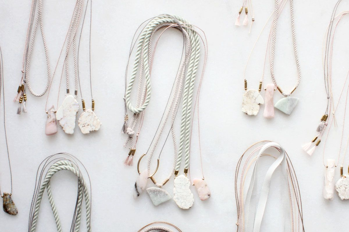 Pink opal, marble and magnesite necklaces