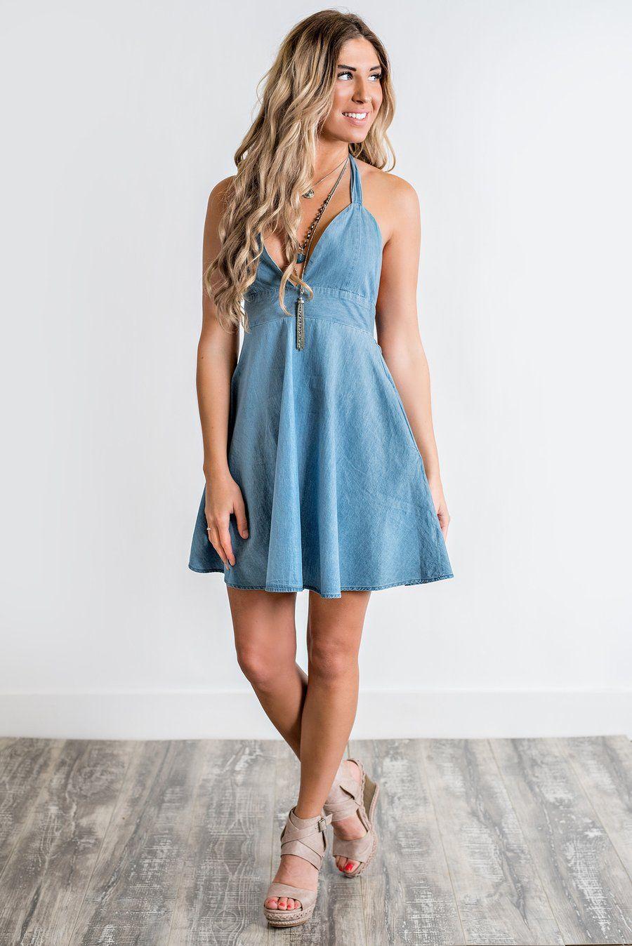 Hudson Denim Halter Dress (Blue) | Verano