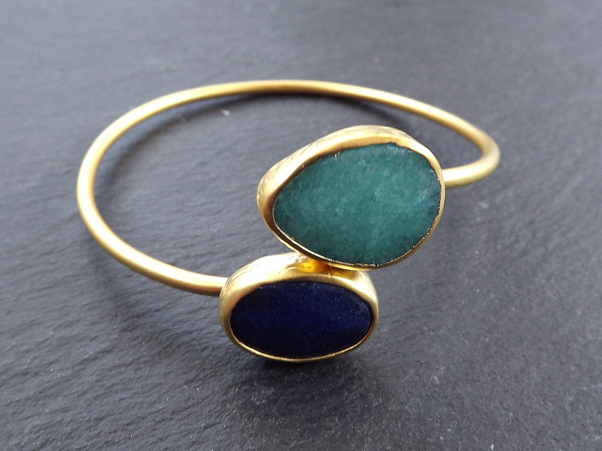 Wholesale Bangle Bracelet Facet Aqua Navy Jade Stone Loops