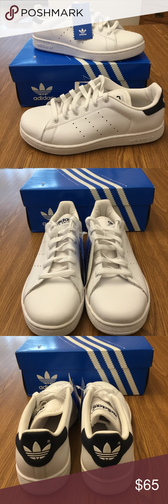 low priced a1151 6eb79 ADIDAS WOMEN'S SNEAKERS Size (5.5) white with navy blue ...