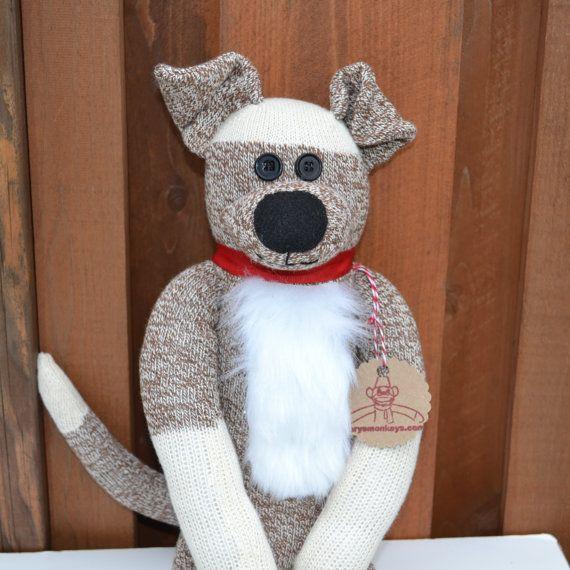 Sock Monkey Dog Doll by MarysMonkeys on Etsy   Sock Crafts ...