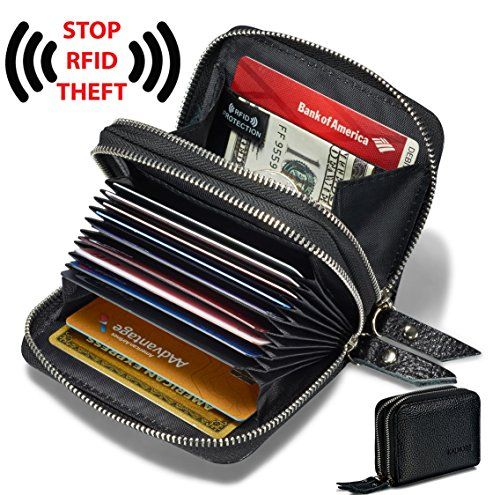 Genuine Leather Credit card holder accordian Wallet Black New by Leatherboss
