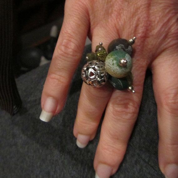 green and silver big bead ring by bbppdesigns on Etsy, $15.00