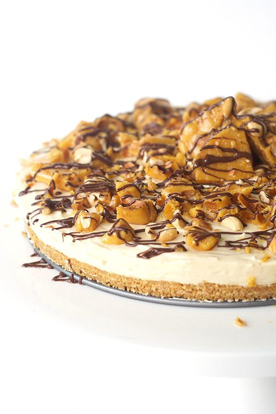 no bake caramel cheesecake with peanut brittle