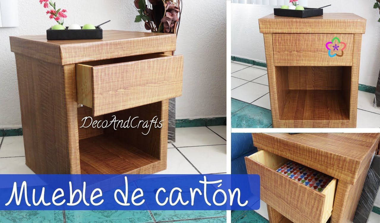 Hacer un mueble de cart n con apariencia de madera diy decoandcrafts cajas y cart n - Carton para muebles ...