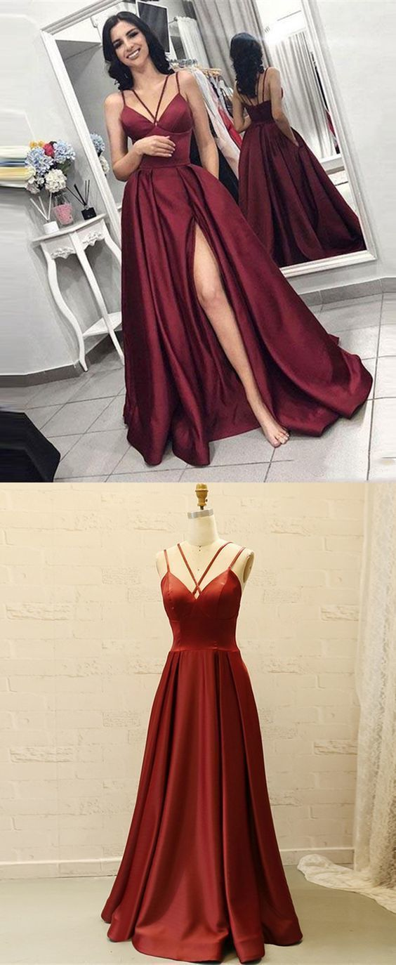 Prom Dress Ball Gown, simple red satin long prom dresses,prettiest senior prom dresses for teens,chic party dresses with high leg split - Senior prom dresses, Dresses for teens, Burgundy prom dress, Sparkly prom dresses, Red prom dress, Ball dresses - Prom Dress Ball Gown, simple red satin long prom dresses,prettiest senior prom dresses for teens,chic party dresses with high leg split, get ready to be the Prom Queen this year with our stunning selection of sexy 2020 prom dresses and evening gowns