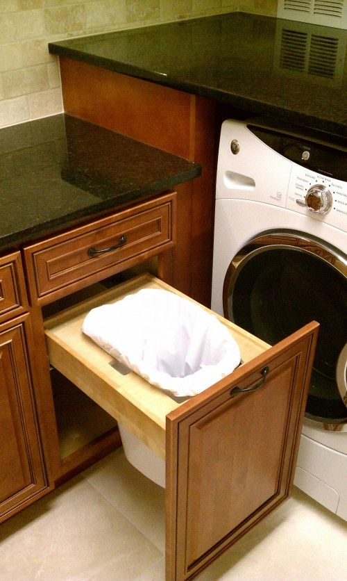 Built In Trash Can In Laundry Room Great A Few Drawers A Tall