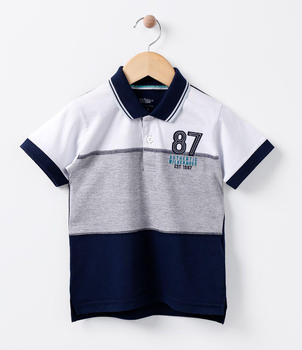 Camiseta polo infantil Manga curta Com recortes Com bordado Marca  Póim  Tecido  Meia malha 16a4cce903a88