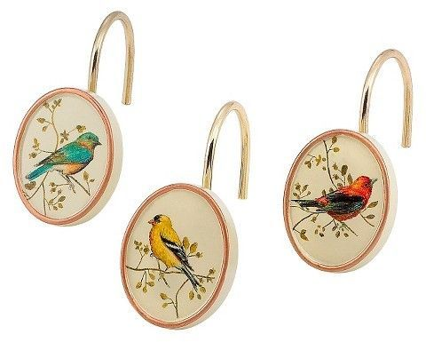 Gilded Birds Shower Hook Set Ivory Avanti Linens Bird Shower
