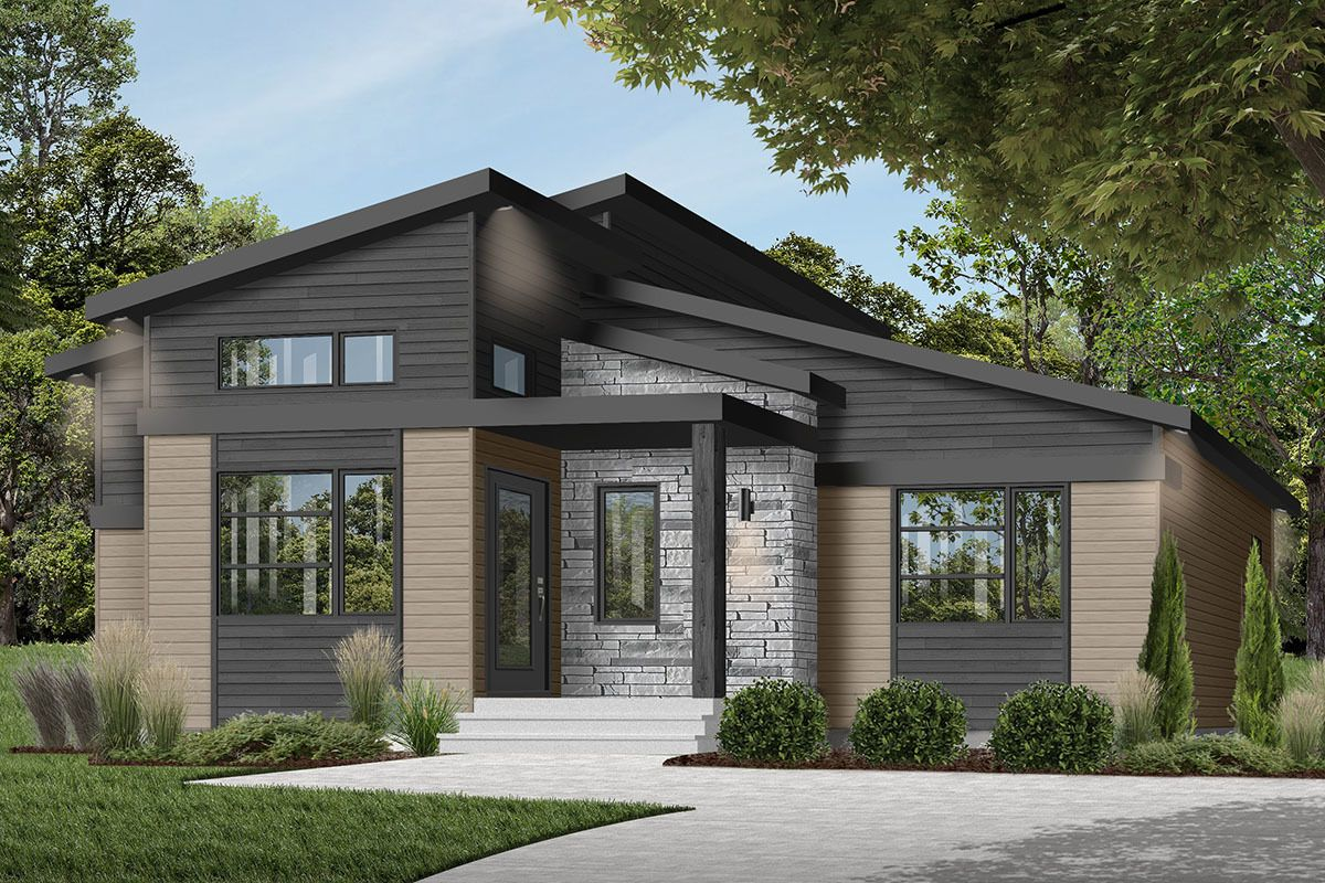 Plan 22550dr Modern Ranch House Plan With Cozy Footprint Bungalow Style House Plans Modern Style House Plans Modern Ranch
