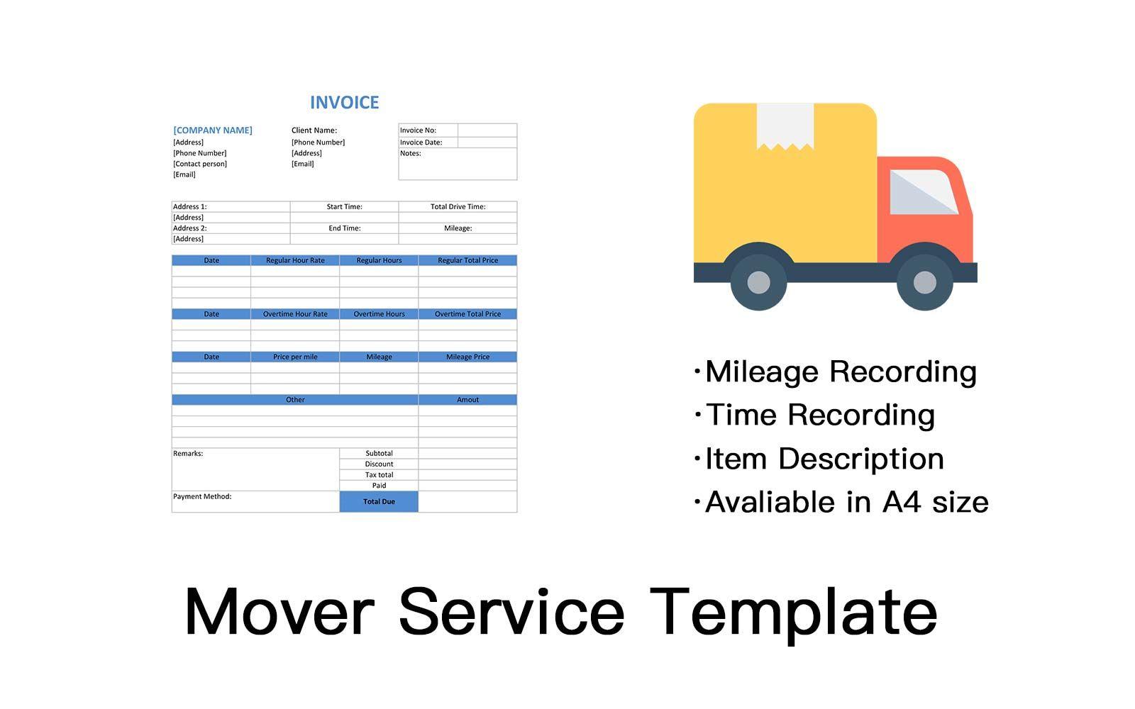 Mover Service Template Invoice Design Invoice Maker Invoice Template