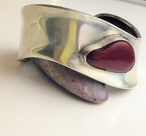 Modernist Bracelet Sterling Biomorphic Red Jasper Cuff Asymetrical 7
