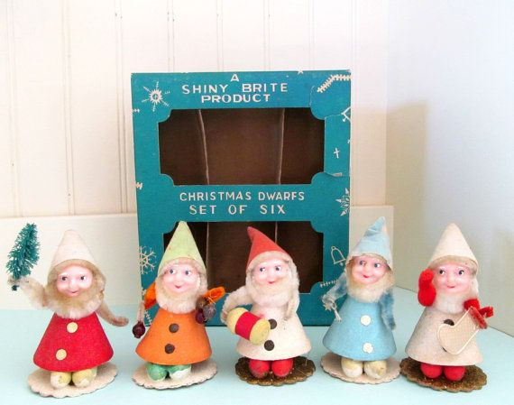 5 Vintage 1950s Shiny Brite Elves In Original Box By Annegraham 60 00 Vintage Christmas Ornaments Kitsch Christmas Antique Christmas Ornaments