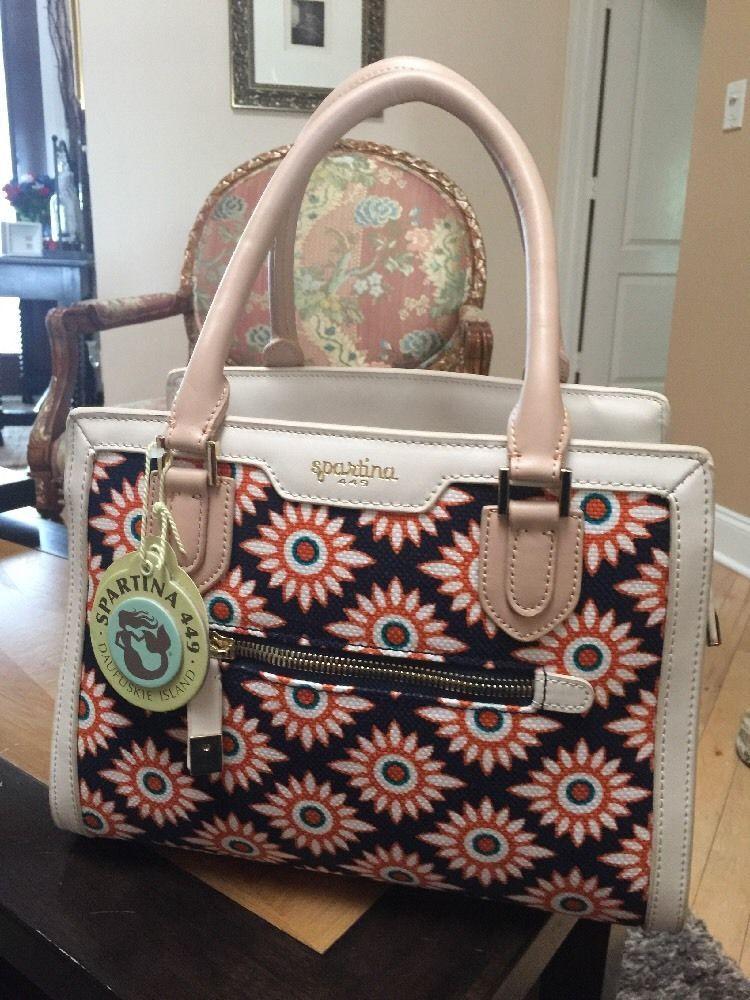 Pretty Spartina 449 Daufuskie Island Linen Leather Handbag Purse Nwt Hand Bags