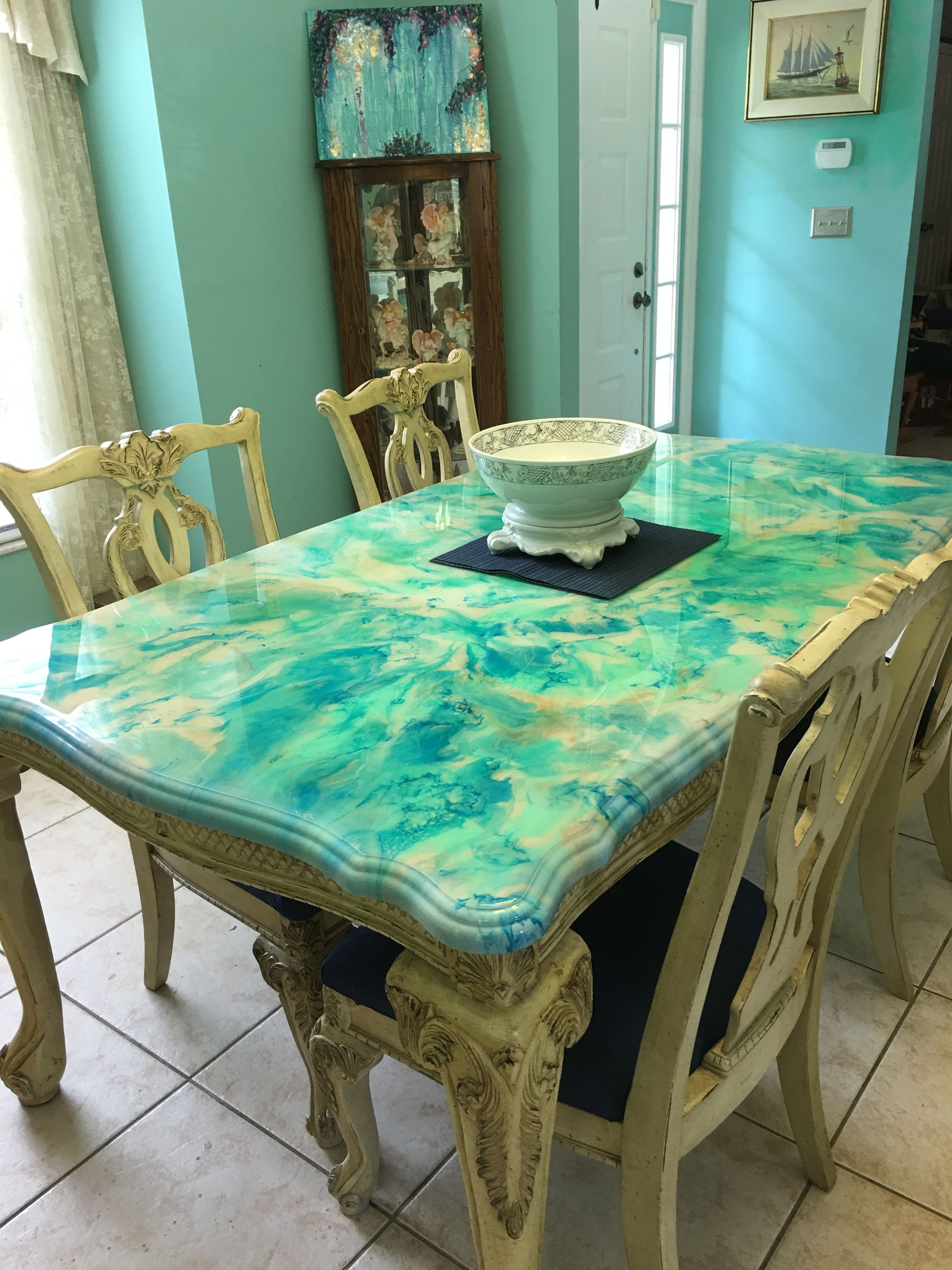 Resin Painted Dining Room Table Painting Furniture Diy Painted Dining Room Table Painted Furniture