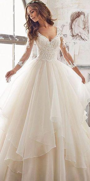 Luxus Hochzeit sexy Luxus Abend Applikationen Abend atemberaubende sexy Hochzeitskleid mit la... #bruiloften