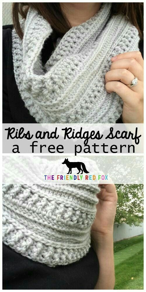 Ribs & Ridges Crochet Infinity Scarf   DIY   Pinterest   Tejido y ...