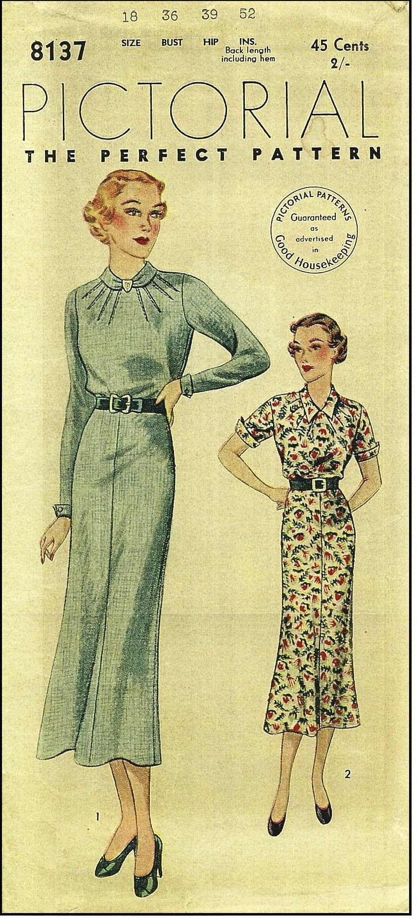 Pictorial review 8137 1930s ladies dress in two styles sewing pictorial review 8137 1930s ladies dress in two styles sewing pattern jeuxipadfo Choice Image