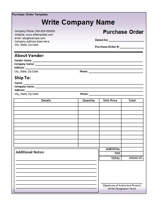 Purchase Order Template 04 ertet Pinterest Template and Free - vehicle purchase order form