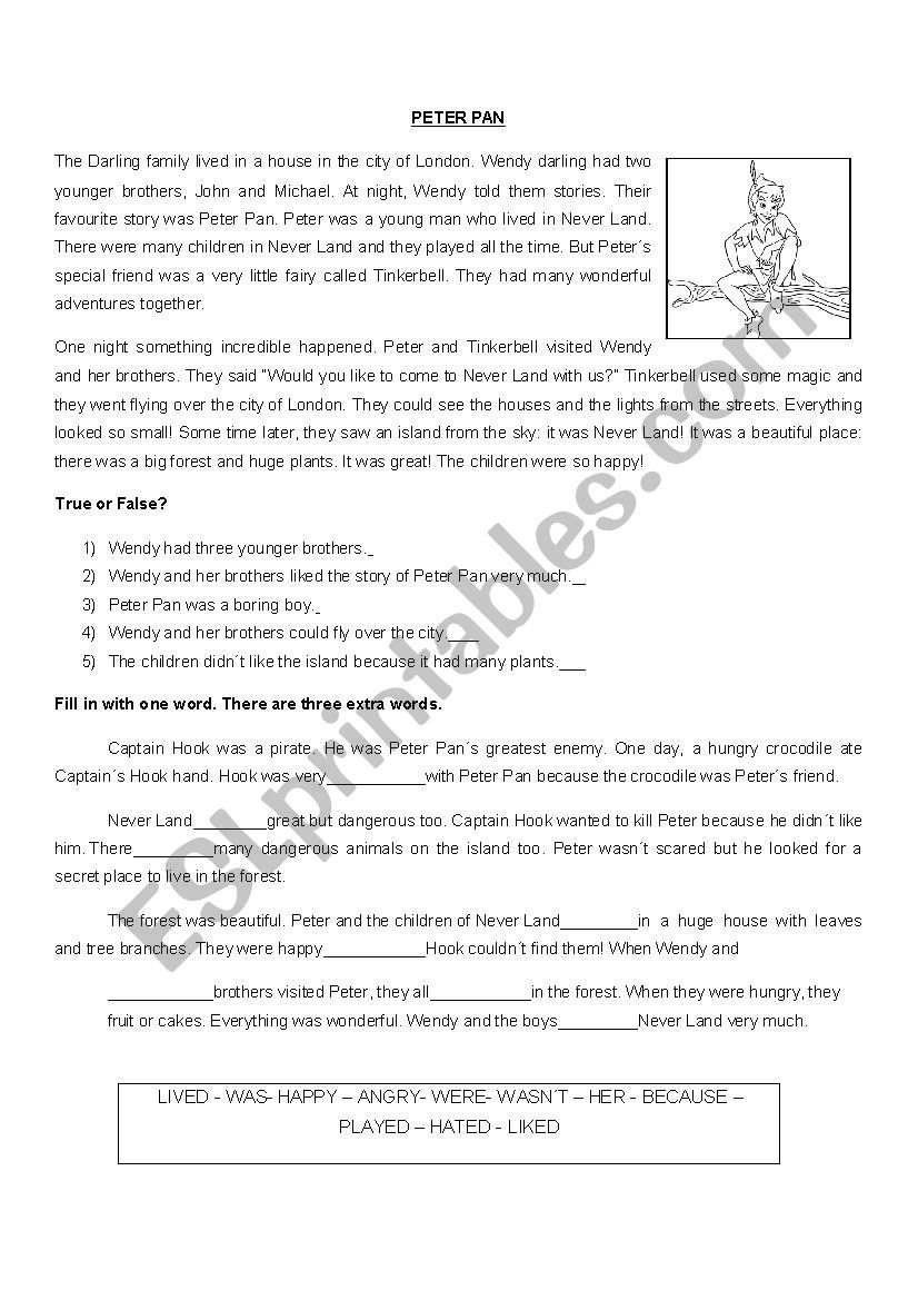 hight resolution of The idea is to improve reading comprehension with this short story: Peter  Pan.   Peter pan
