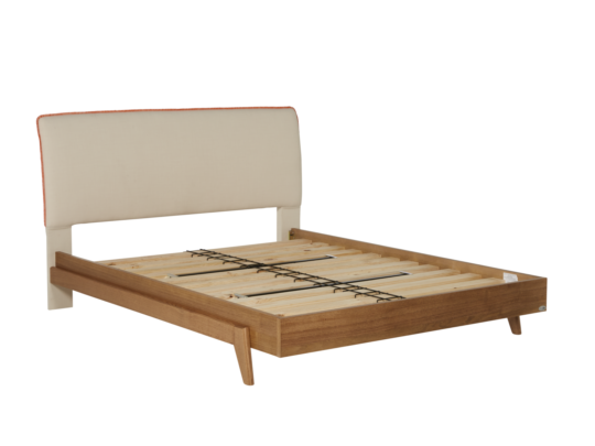 Dane Bed Frame With Upholstered Headboard In Warwick Cargo Oatmeal Fabric U0026  Timber Base. Get