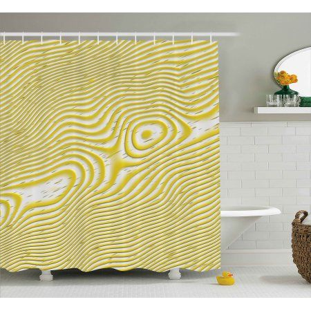 Modern Decor Shower Curtain, Trippy Spiral Wavy Inner Circle Round