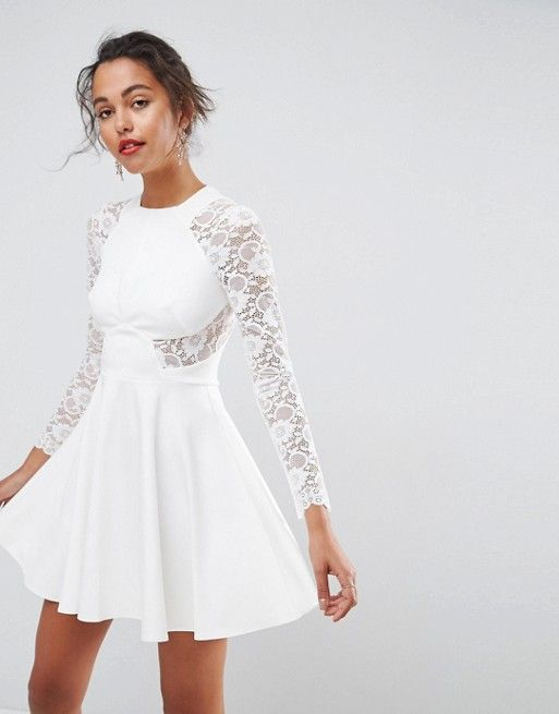 af9cdef8061c6 ASOS Premium White Mini Scuba Skater Dress with Lace Sleeves ...