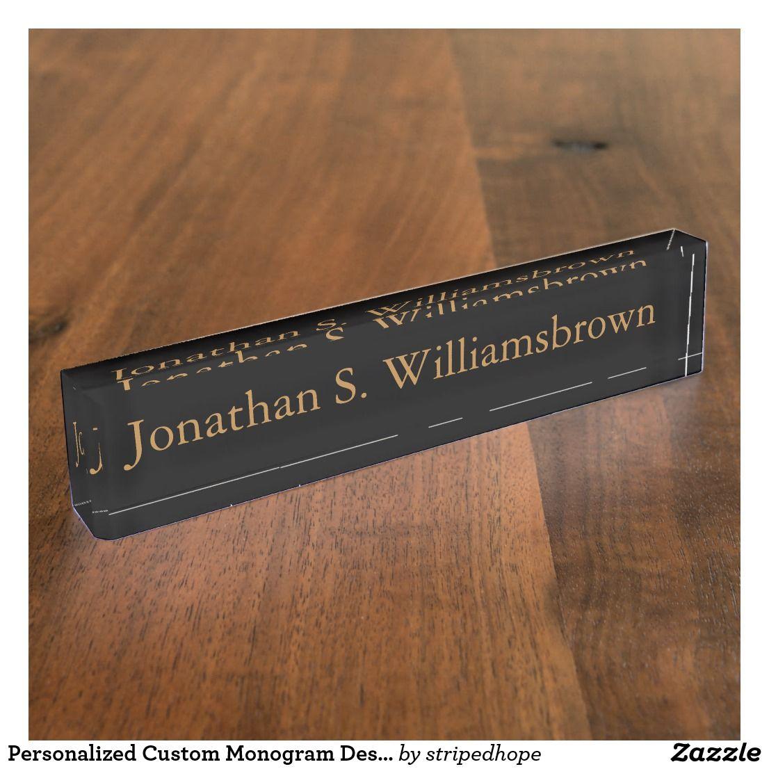 personalized custom monogram desk name plate zazzle com in 2019 rh pinterest com