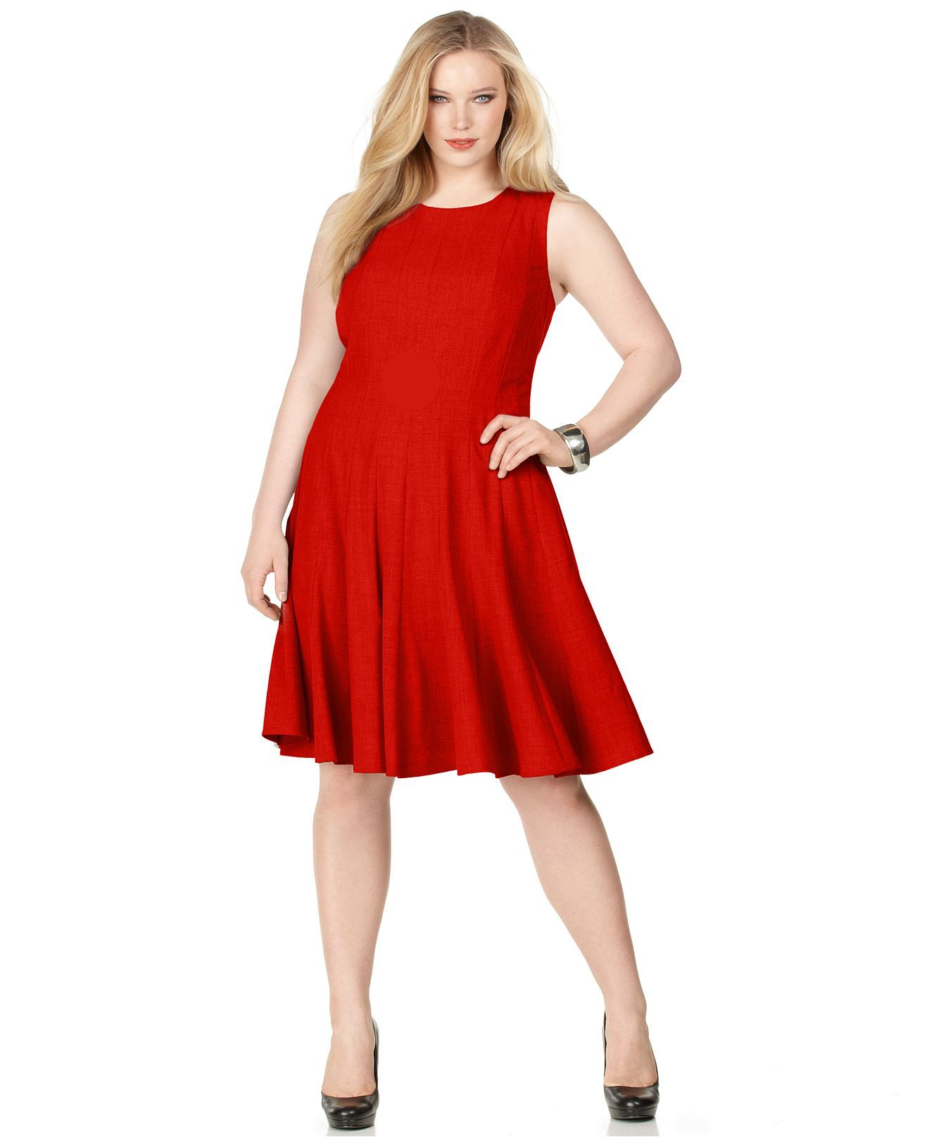 Calvin Klein Plus Size Pleated A Line Dress Calvin Klein Dress