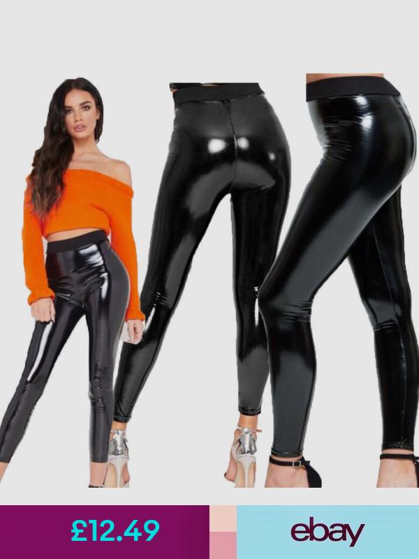 Women Ladies Black Shiny Leather  PVC Look Shiny Disco High Waist Leggings Pants
