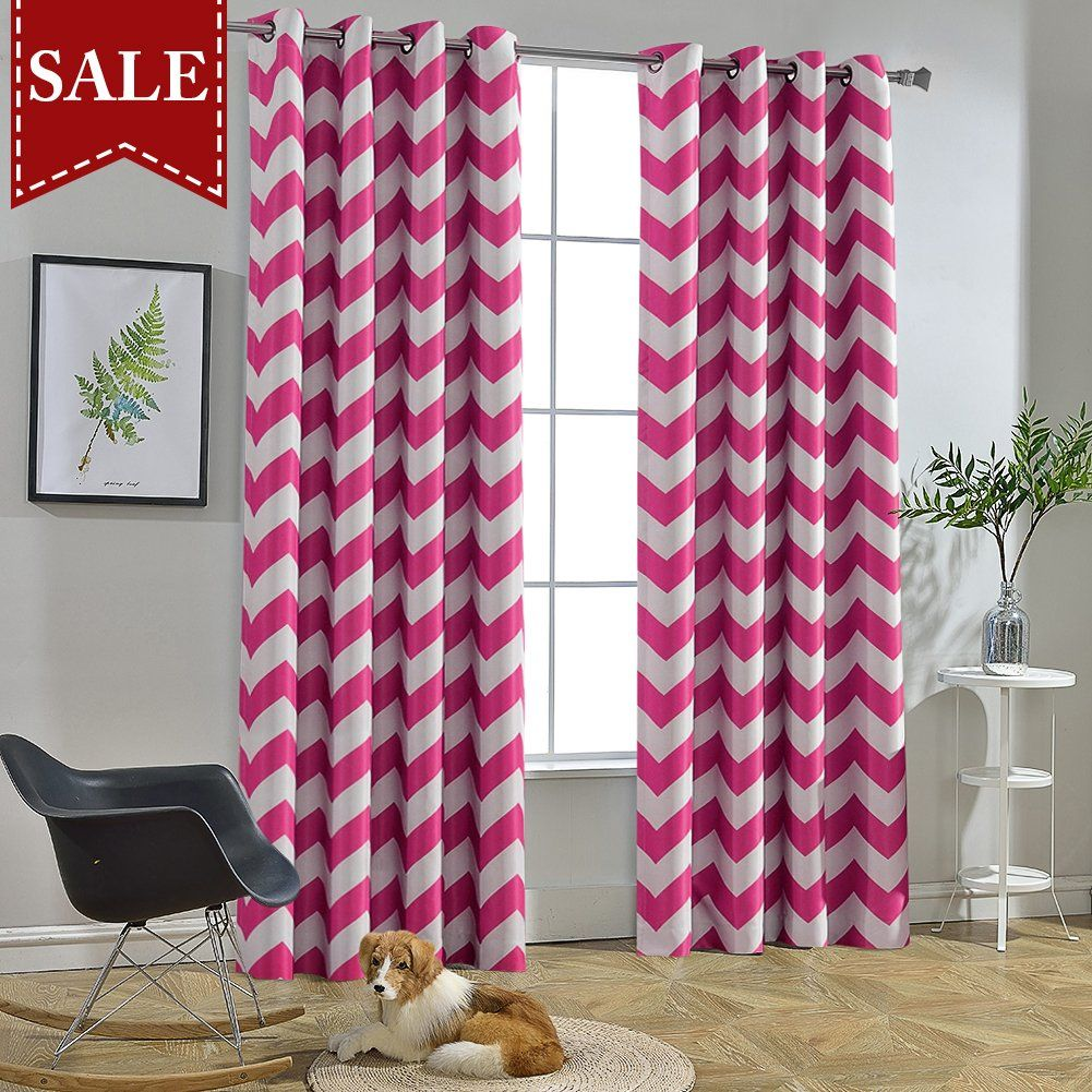 Melodieux Chevron Room Darkening Blackout Grommet Top Curtains 52 By 84 Inch Fuchsia Pink 1 Panel In 2020 Pink Curtains Curtains Grommet Top Curtains