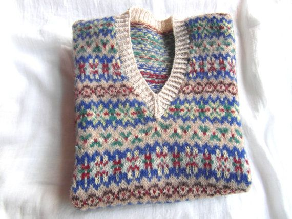 1940s~50s Genuine Fair Isle Sleeveless Pullover~Tank top~Sweater ...