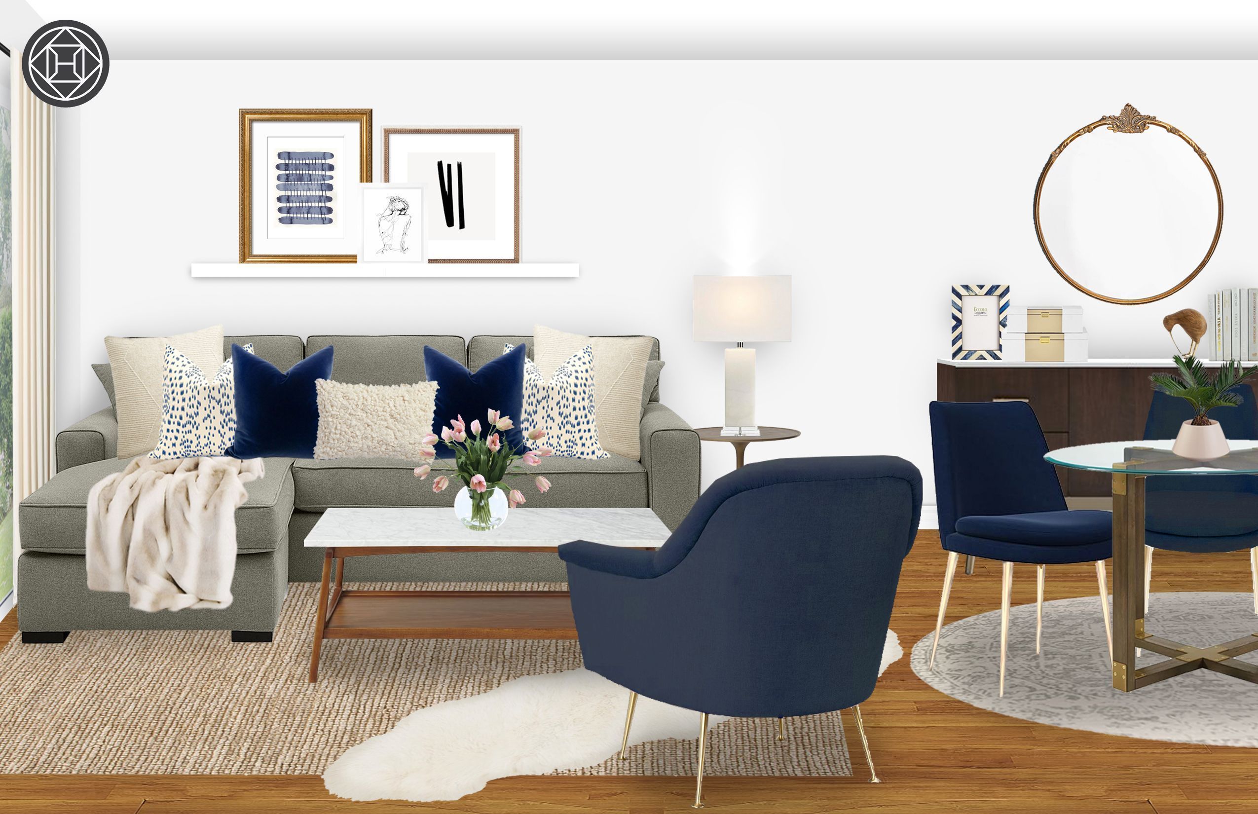 Contemporary Modern Transitional Midcentury Modern Living Room
