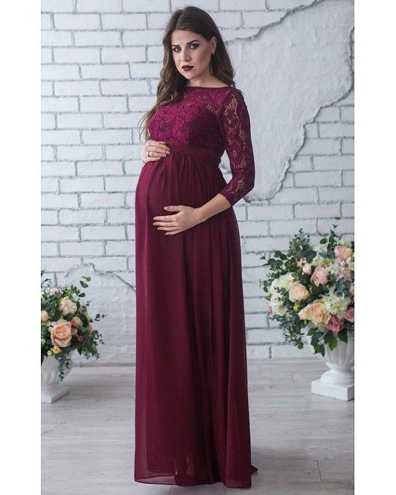 Maternity Dresses U0026 Nursing Tops U2013 Burgundy Maternity Maxi Dress Baby Shower  Photo U2013 A Unique Product By On DaWanda