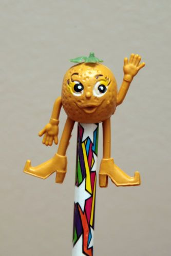 1970s MUNCH BUNCH PENCIL TOPPER ORANGE (one of a series that came from a cereal packet) I had this one!