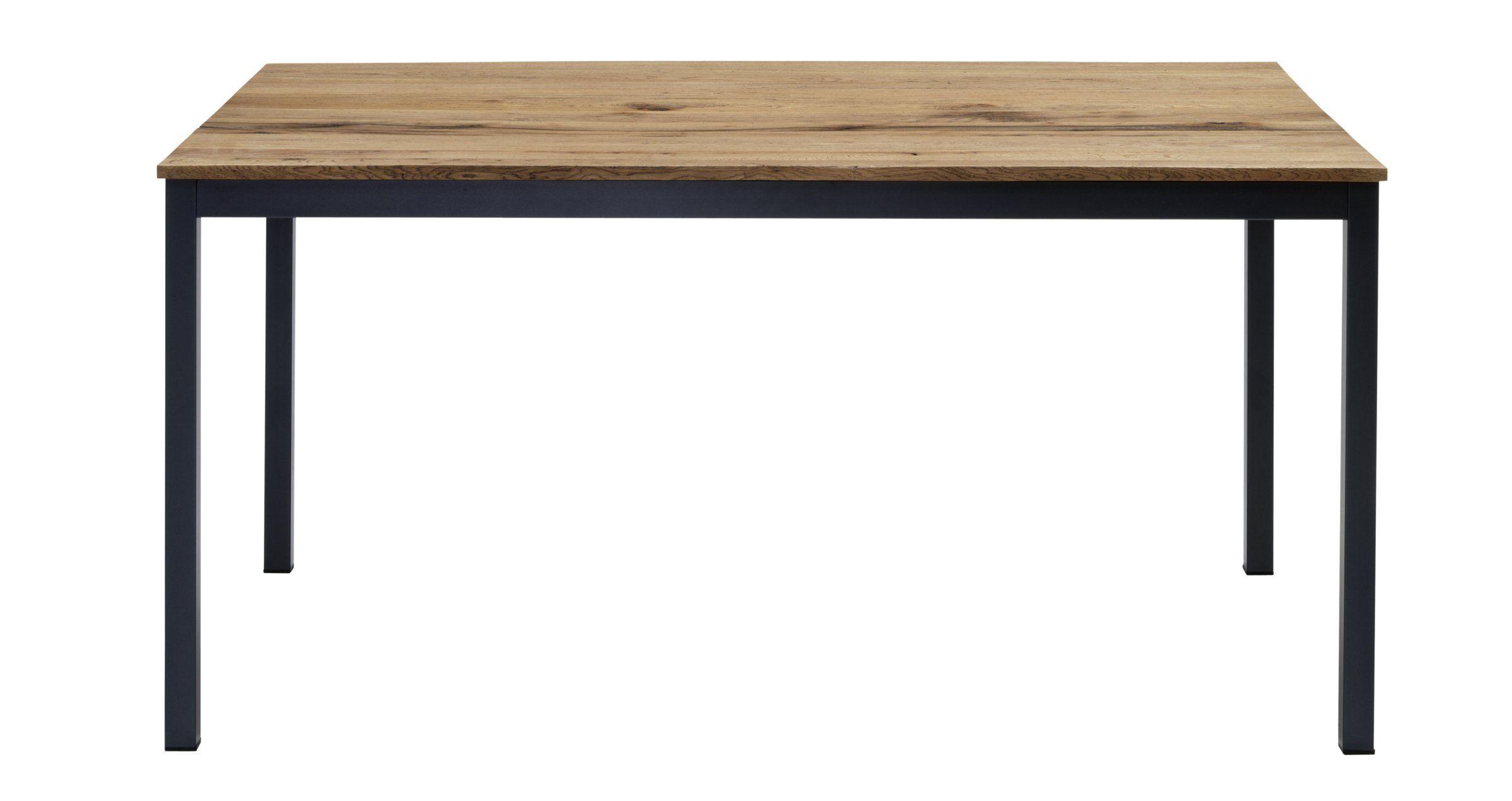 Esstisch ALEXIS Tischplatte Sumpfeiche lackiert Antik Look Gestell Metall lackiert anthrazit